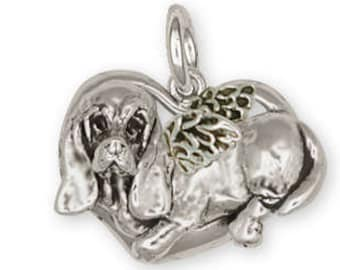 Basset Hound Angel Pendant Jewelry Sterling Silver Handmade Dog Pendant BAS8-AP