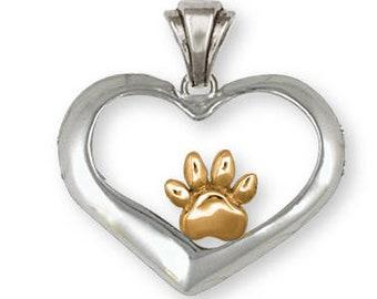 Dog Paw Pendant Jewelry 14k Gold Handmade Dog Pendant PAW6-PG