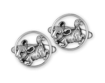 Silver Toned Detailed Chinchilla Cufflinks