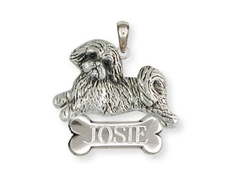 Lhasa Apso Jewelry Solid Sterling Silver Lhasa Apso Charm Jewelry  LSZ9-P