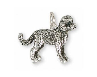 Labradoodle Charm Slide Jewelry Sterling Silver Handmade Dog Charm Slide LDD10-P