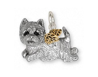 Westie Charm Westie Jewelry Westie Brooch Pin Jewelry Silver And Gold Handmade West Highland White Terrier Brooch Pin WT10-STP