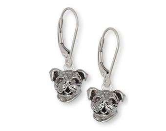 Bulldog Earrings Jewelry Sterling Silver Handmade Dog Earrings D016H-LB