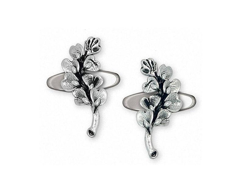 Bluebonnet Jewelry Bluebonnet Cufflinks Jewelry Sterling Silver Handmade Texas Wildflower Cufflinks BB6-CL