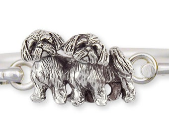 Sterling Silver Double Shih Tzu Bracelet Jewelry  SZ24-HB