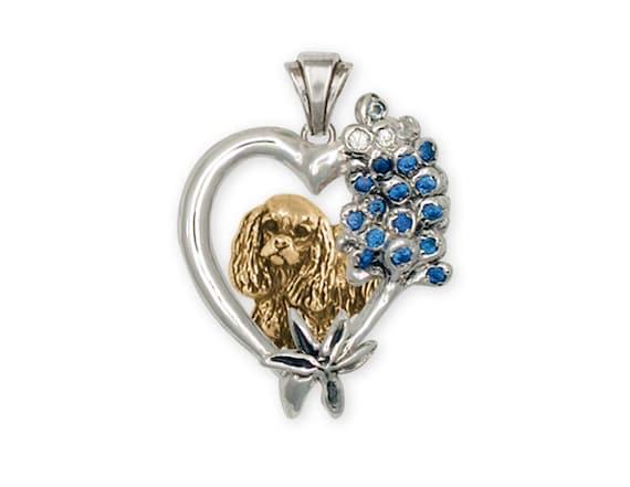 Cavalier Spaniel Dog Necklace Pendant Acrylic Metal Silver Tone King Charles