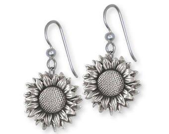 Sunflower Earrings Jewelry Sterling Silver Handmade Flower Earrings SF5-FW