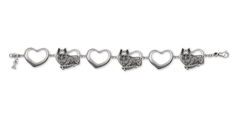 Schipperke Jewelry Sterling Silver Schipperke Bracelet Handmade Dog Jewelry SC5-BR