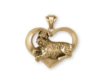 Brussels Griffon Pendant Jewelry Gold Vermeil Handmade Dog Pendant GR37-PG