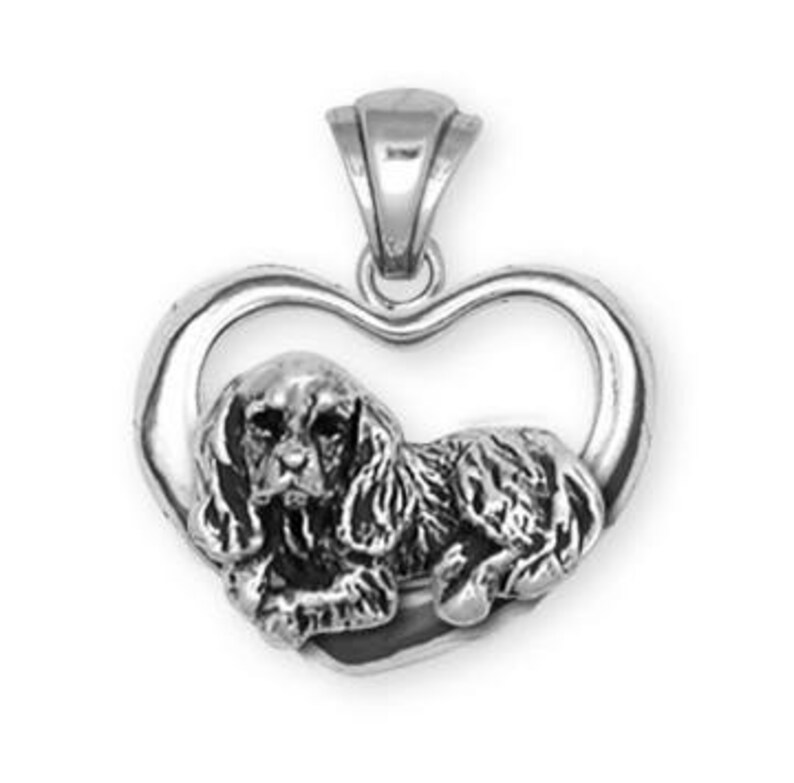 Cavalier King Charles Spaniel Heart Pendant Jewelry Handmade Sterling Silver KC3H-P