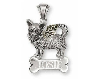 Long Hair Chihuahua Angel Pendant Jewelry Sterling Silver Handmade Dog Pendant CU13-ANP