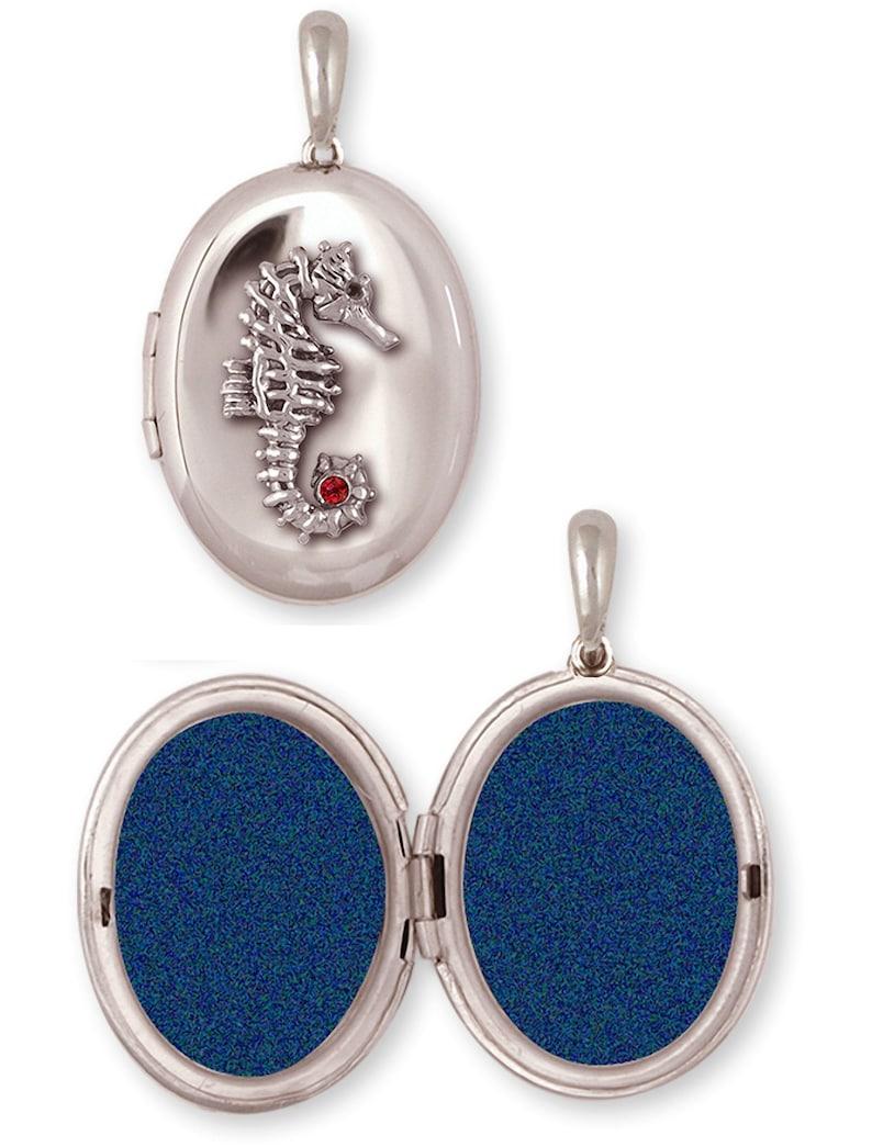 Seahorse Jewelry Sterling Silver Handmade Sea Horse Photo Locket  SE3-V