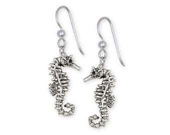 Solid Sterling Silver Seahorse Earrings Jewelry SE4-E