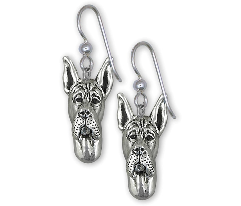 Great Dane Jewelry Sterling Silver Handmade Great Dane Earrings  GD19-E