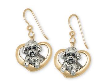 Bichon Frise Earrings Jewelry Gold Vermeil Handmade Dog Earrings BF5-EVM