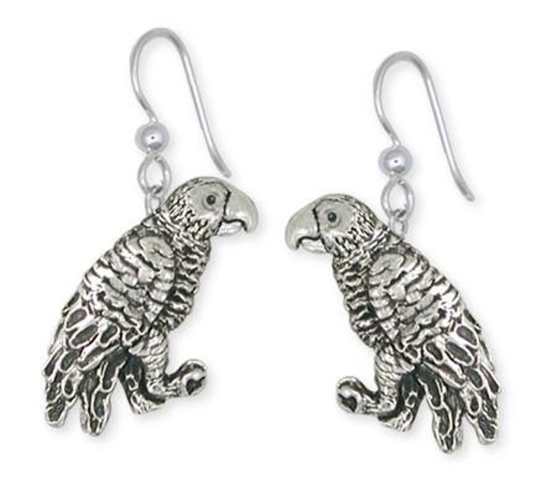 African Grey Parrot Earrings Solid Sterling Silver Jewelry   AFG1-E