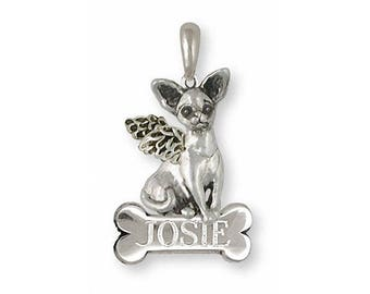 Chihuahua Angel Pendant Jewelry Sterling Silver Handmade Dog Pendant CU9-BNAP