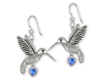 Hummingbird Earrings Jewelry Sterling Silver  and 14K Gold Handmade Bird Earrings HM1-SE