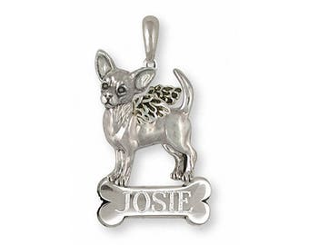 Chihuahua Angel Pendant Jewelry Sterling Silver Handmade Dog Pendant CU17S-ANP