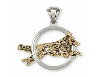 Border Collie Pendant Jewelry Silver And 14k Gold Handmade Dog Pendant BDC41X-TNDP