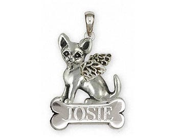 Chihuahua Angel Jewelry Sterling Silver Chihuahua Angel Pendant Handmade Dog Jewelry CHW12-ANP