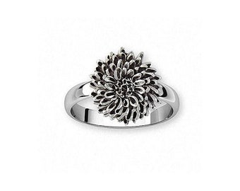 Chrysanthemum Ring Jewelry Sterling Silver Handmade Flower Ring CRY2X-R
