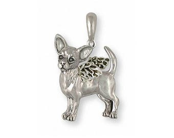 Chihuahua Angel Pendant Jewelry Sterling Silver Handmade Dog Pendant CU17S-AP