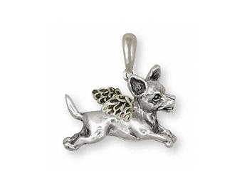 Chihuahua Angel Pendant Jewelry Sterling Silver Handmade Dog Pendant CU2-AP