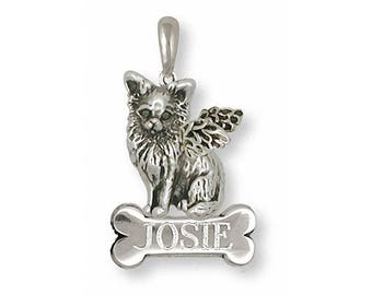 Long Hair Chihuahua Angel Pendant Jewelry Sterling Silver Handmade Dog Pendant CU8-ANP