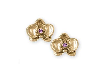 Orchid Jewelry 14k Gold Orchid Earrings Handmade Flower Jewelry OR3-SEG