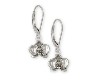 Orchid Jewelry Sterling Silver Orchid Earrings Handmade Flower Jewelry OR3-KW