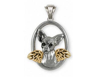 Chihuahua Angel Pendant Jewelry Silver And 14k Gold Handmade Dog Pendant CH19-TNAP