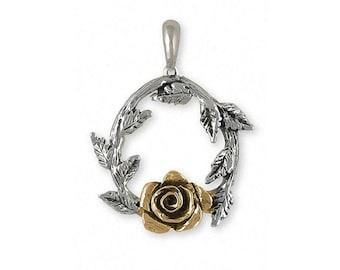 Rose Pendant Jewelry Gold Vermeil Handmade Flower Pendant RSH-1PVM