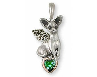Chihuahua Angel Pendant Jewelry Silver And Gold Handmade Dog Pendant CU9-TNSAP