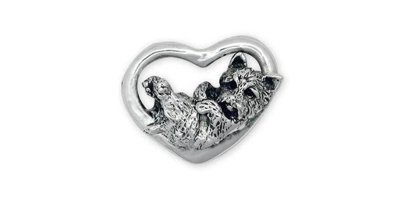 Cairn Terrier Brooch Pin Jewelry Sterling Silver Handmade Dog Brooch Pin CY11-BRPN