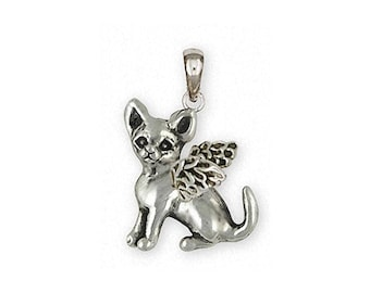 Chihuahua Angel Jewelry Sterling Silver Chihuahua Angel Pendant Handmade Dog Jewelry CHW12-AP