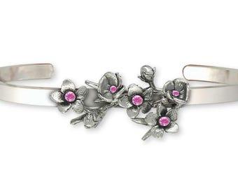 Cherry Blossom Bracelet Jewelry Sterling Silver Handmade Flower Bracelet CBL1-CB