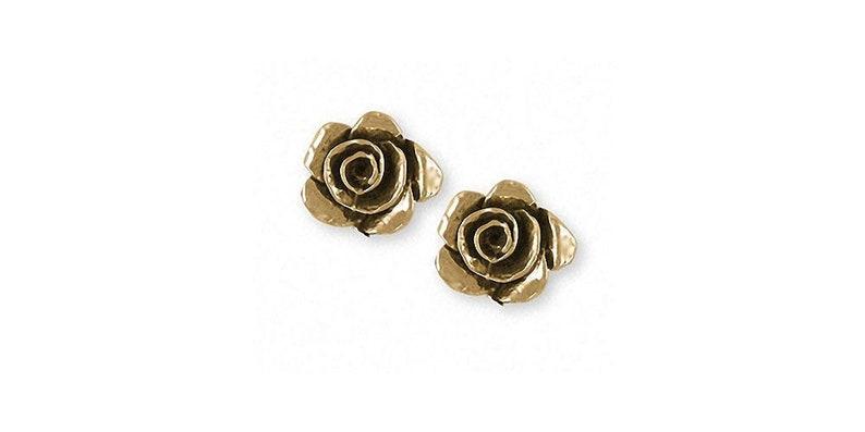 Rose Jewelry Rose Earrings Jewelry 14k Gold Handmade Flower Earrings RSH-TEG