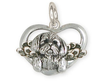 Solid Lhasa Apso Angel Charm LSZ23-AC