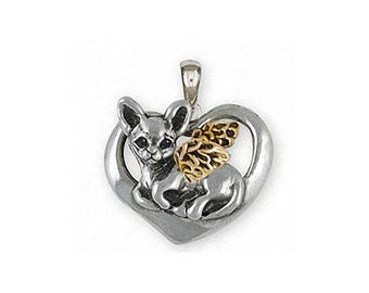 Chihuahua Angel Jewelry Silver And Gold Chihuahua Angel Pendant Handmade Dog Jewelry CHW13-TNAP