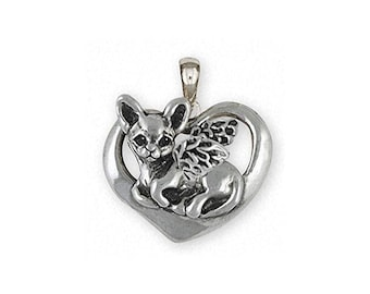 Chihuahua Angel Jewelry Sterling Silver Chihuahua Angel Pendant Handmade Dog Jewelry CHW13-AP