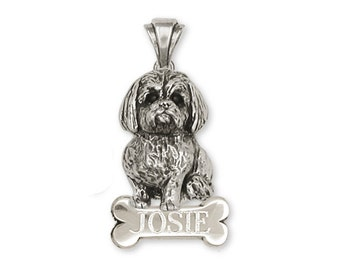 Personalized Silver Lhasa Apso Pendant Jewelry  LSZ5-NP