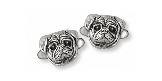 Pug Cufflinks Jewelry Sterling Silver Handmade Dog Cufflinks PG24-CL