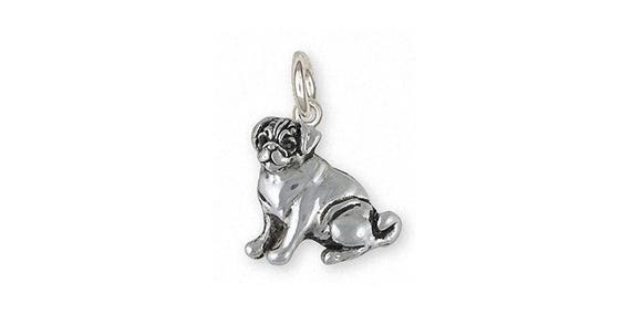 Pug Jewelry Sterling Silver Pug Charm Handmade Dog Jewelry Etsy