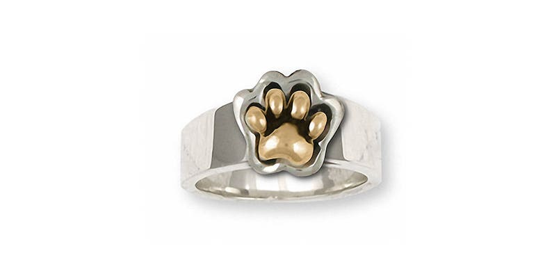 Dog Paw Jewelry Dog Paw Ring Jewelry Silver And Gold Handmade Dog Ring PZ2-TTR
