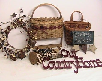Americana Decor, Wicker Baskets, Sign, Berry Wreath, Americana Home