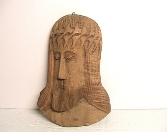 Jesus, Hand Carved Walnut Wood Jesus Head, Hand Carving of Our Lord