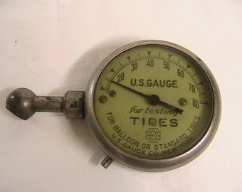 Tire Gauge, US Gauge Co, New York Vintage Round Tire gauge, U.S Gauge for Testing Tires