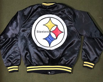 82cc499c4 Vintage 90 s Pittsburgh Steelers Jacket NFL Nylon Bomber Chalk Line Coach  Jacket Deadstock Condition Medium