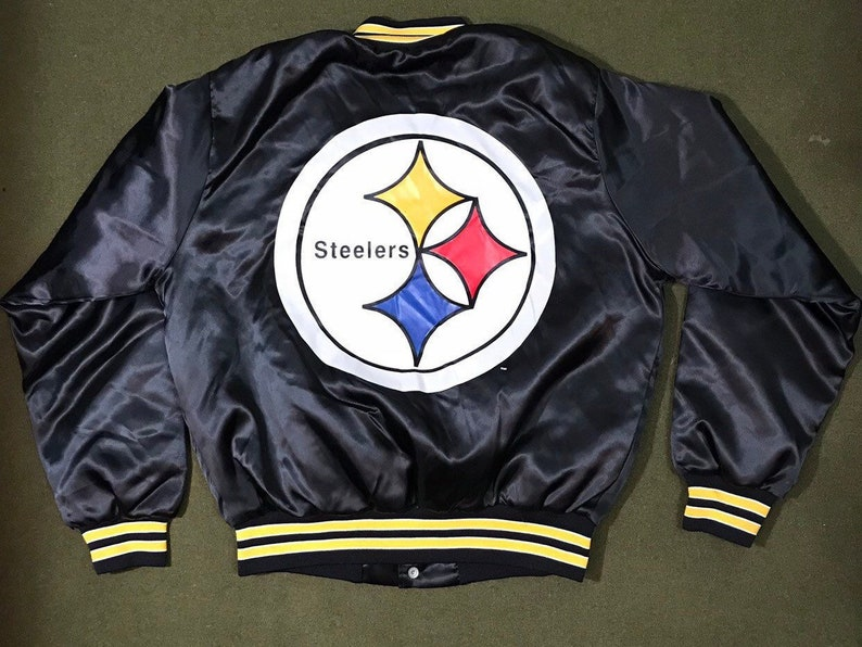 huge discount 39cc3 9a7fa Vintage 90's Pittsburgh Steelers Jacket NFL Nylon Bomber Chalk Line Coach  Jacket Deadstock Condition Medium